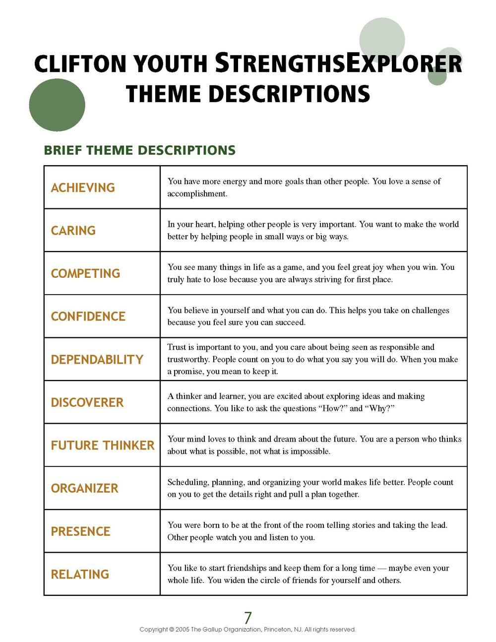 Youth Strengths Explorer Theme Descriptions flyer